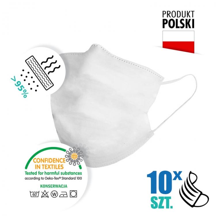 10 szt. Maseczka ochronna bawełniana biała